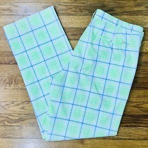 IZOD Neon Green & Blue Plaid Golf Dress Pants